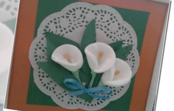 Открытка с ватными дисками ко дню мамы, открытки