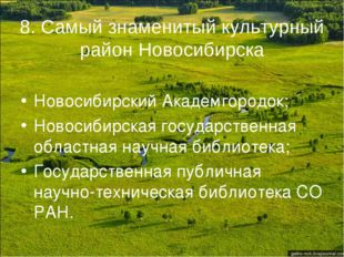8. Самый знаменитый культурный район Новосибирска Новосибирский Академгородок