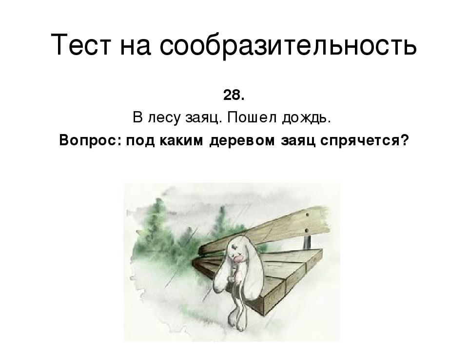 Тест на сообразительность 28. В лесу заяц. Пошел дождь. Вопрос: под каким дер...