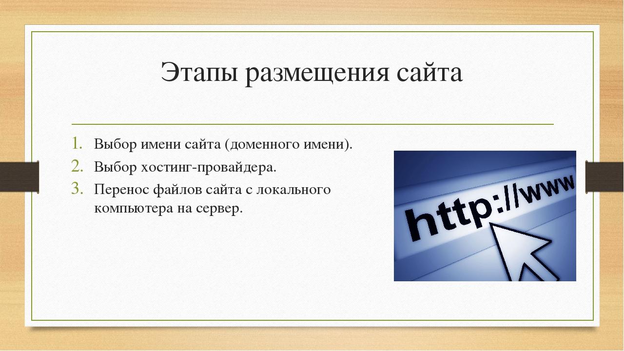 Выбор хостинга и доменного имени сайта размещение сайта на бесплатный хостинг