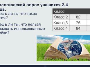 Социологический опрос учащихся 2-4 классов. 1. Знаешь ли ты что такое Экологи