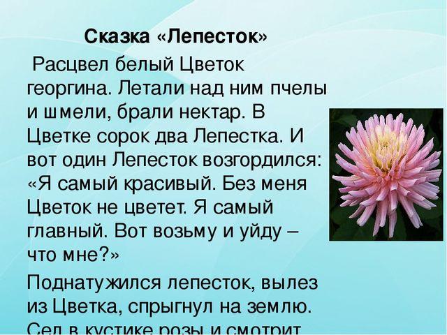 Сказка «Лепесток» Расцвел белый Цветок георгина. Летали над ним пчелы и шмели...
