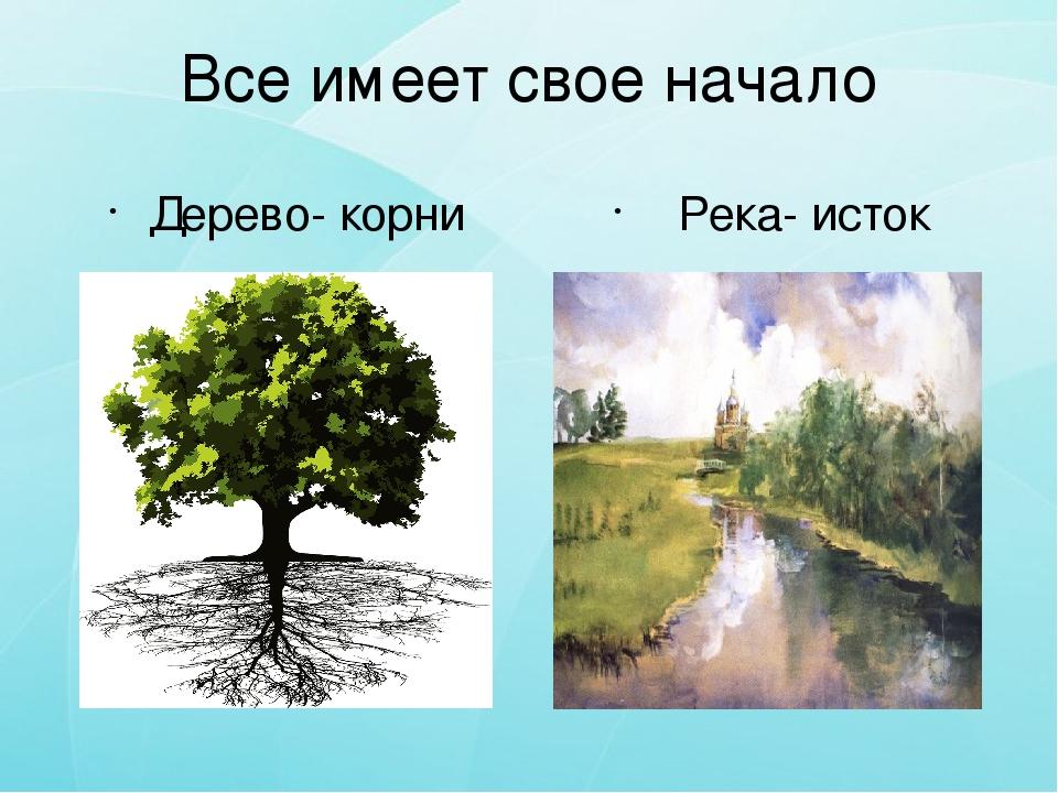 Все имеет свое начало Дерево- корни Река- исток