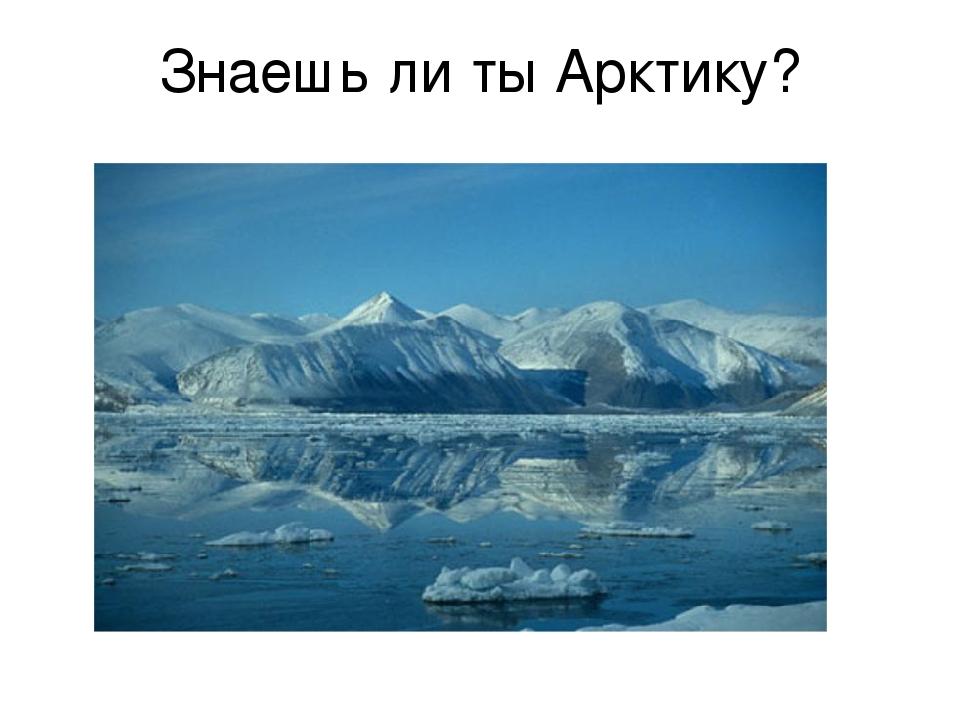 Знаешь ли ты Арктику?