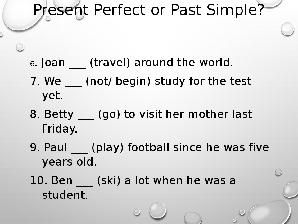 PET Past Simple and Present Perfect Transformation Exercise