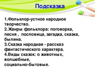 Подсказка 1.Фольклор-устное народное творчество. 2.Жанры фольклора: поговорк