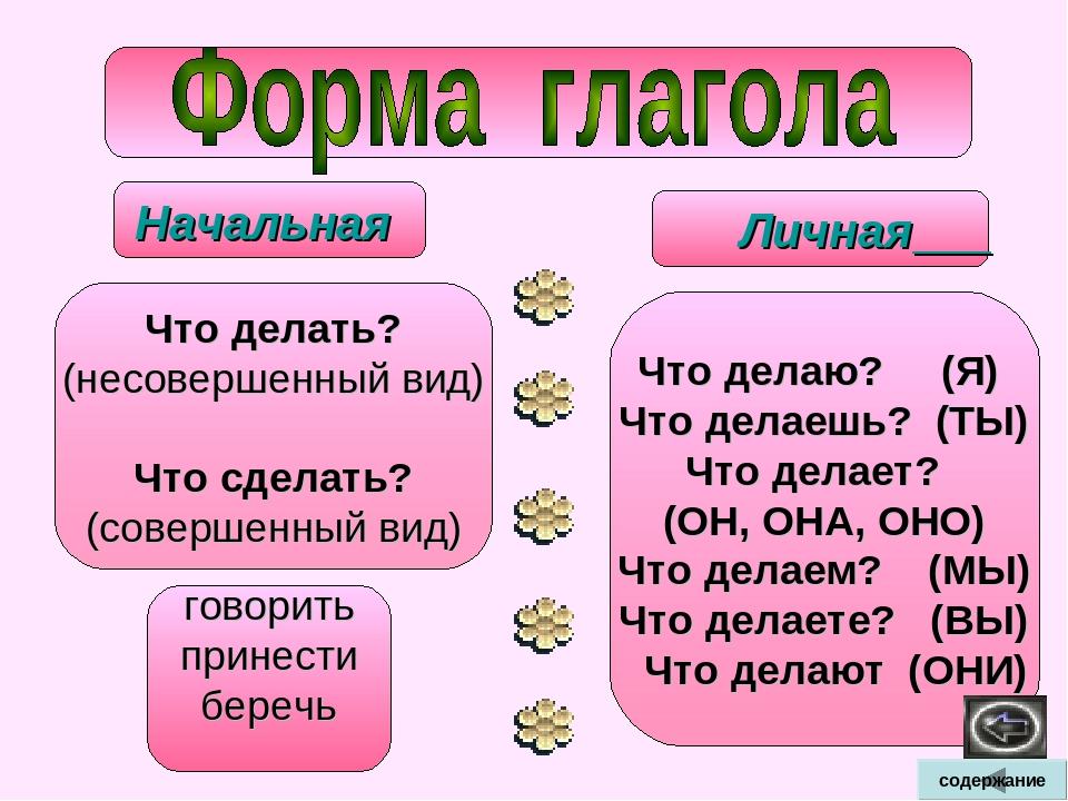 Глагол в начальной форме правило