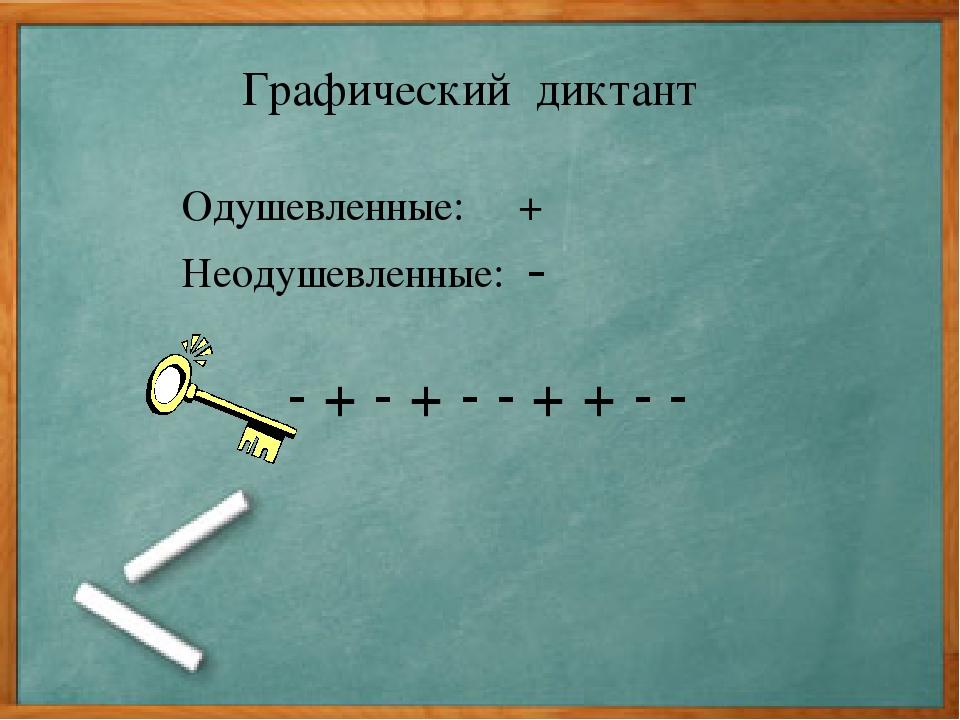 Графический диктант Одушевленные: + Неодушевленные: - - + - + - - + + - -