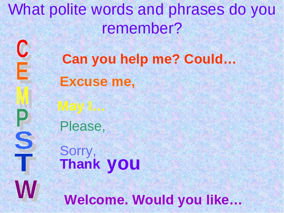 What polite words and phrases do you remember? Can you help me? Could… Excuse...