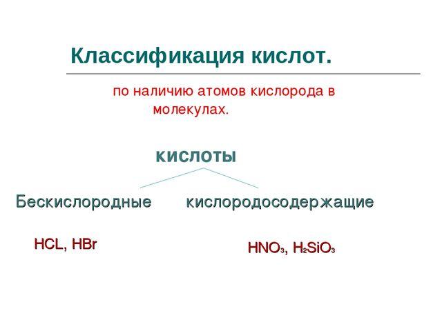 Классификация кислот. по наличию атомов кислорода в молекулах. кислоты Бескис...