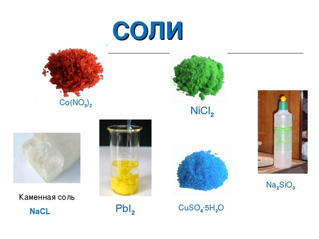 СОЛИ Co(NO3)2 Каменная соль Na2SiO3 CuSO4.5H2O NaCL