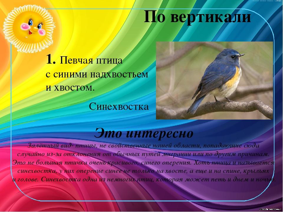 По вертикали 1. Певчая птица с синими надхвостьем и хвостом. Это интересно За...