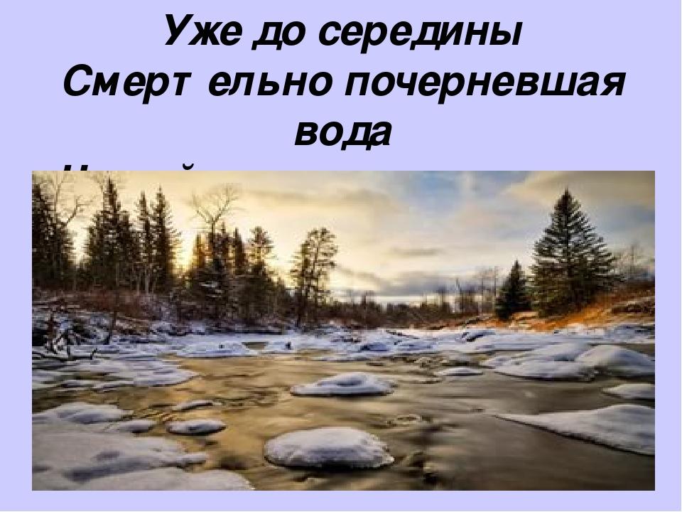 Уже до середины Смертельно почерневшая вода Чешуйками подергивалась льда.