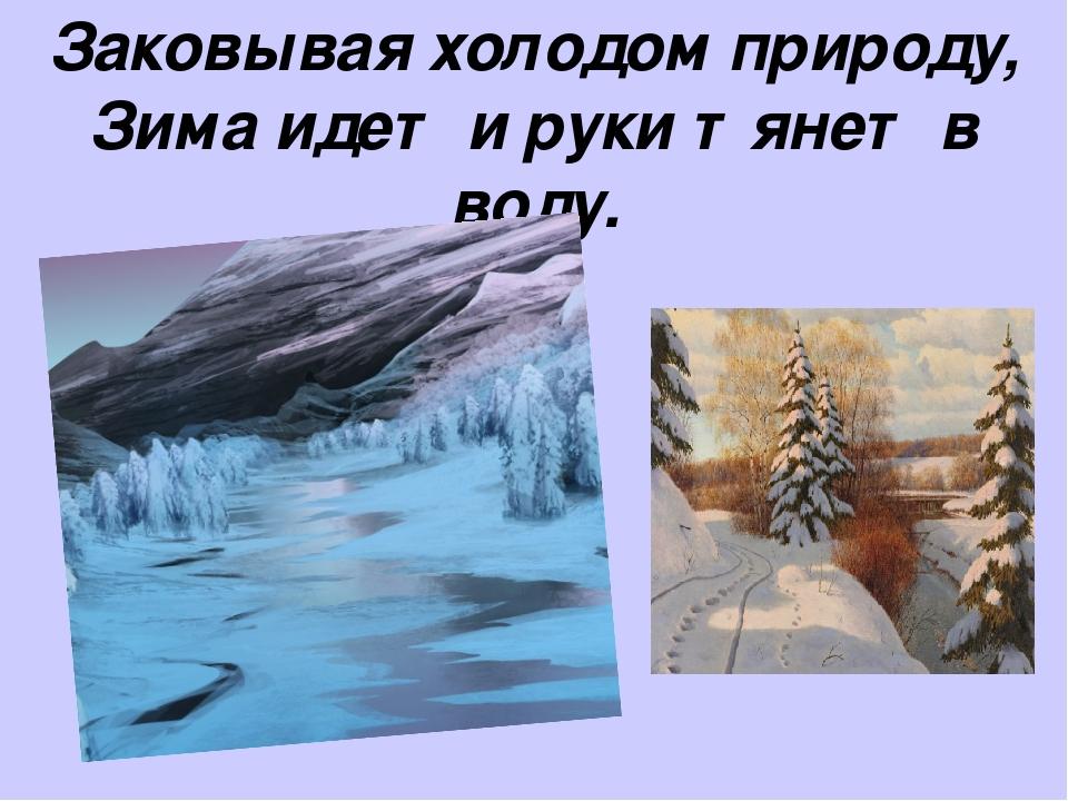 Заковывая холодом природу, Зима идет и руки тянет в воду.