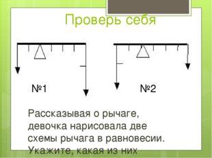 Проверь себя Рассказывая о рычаге, девочка нарисовала две схемы рычага в равн