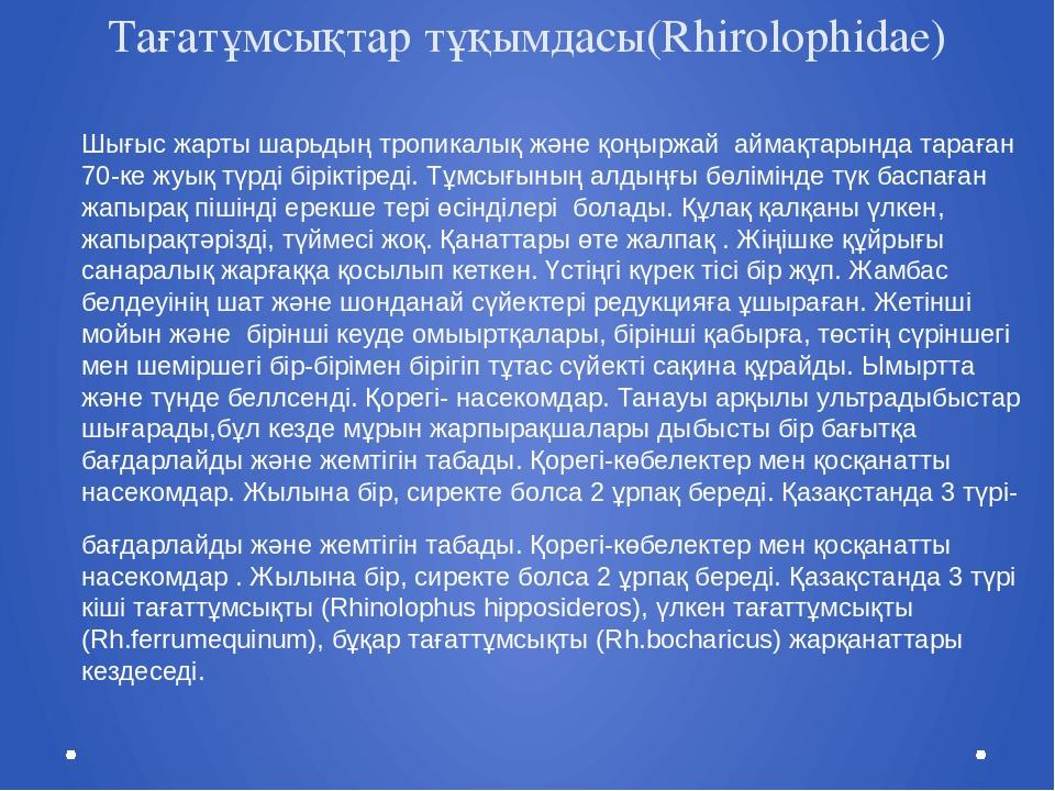 Тағатұмсықтар тұқымдасы(Rhirolophidae) Шығыс жарты шарьдың тропикалық және қо...