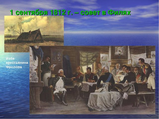 1 сентября 1812 г. – совет в Филях Изба крестьянина Фролова