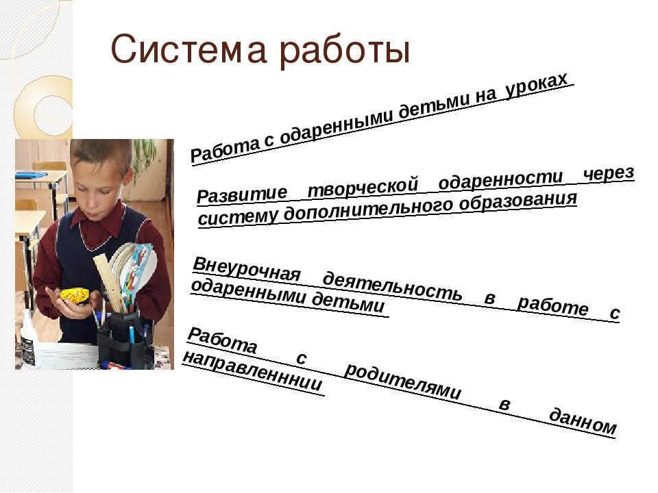 Система работы Работа с одаренными детьми на уроках Внеурочная деятельность в...