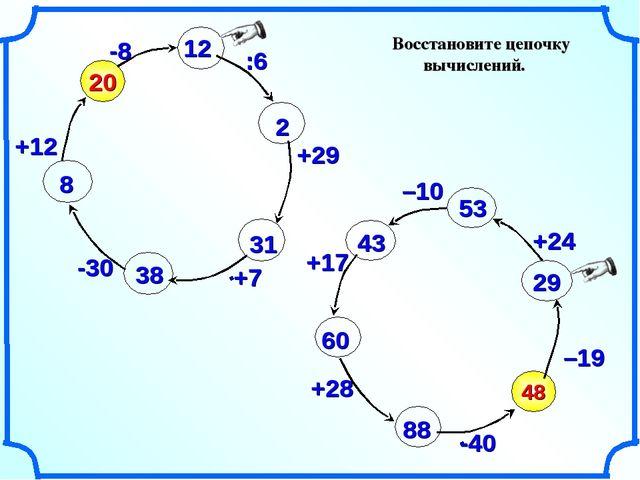 Восстановите цепочку вычислений. 48 –19 20 -8 :6 +29 -30 +12 –10 +17 +28 12 2...