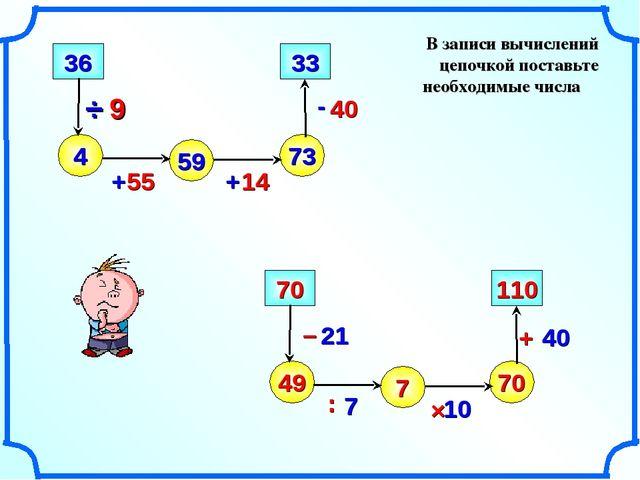В записи вычислений цепочкой поставьте необходимые числа – 4 + - 36 59 73 33...