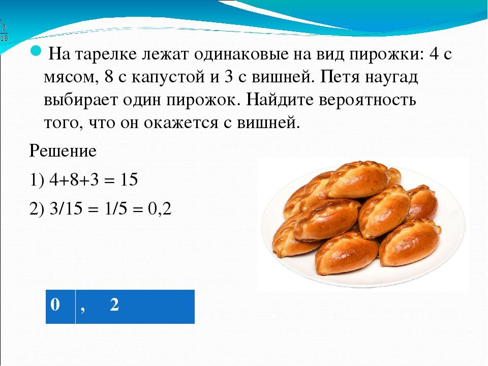 на тарелке лежат пирожки одинаковые на вид 4 с мясом 10 с капустой и 6