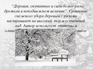 """""""Деревья, окутанные в свои белые ризы, дремали в неподвижном величии"""". Сравн"""