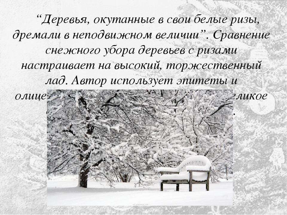 """""""Деревья, окутанные в свои белые ризы, дремали в неподвижном величии"""". Сравн..."""