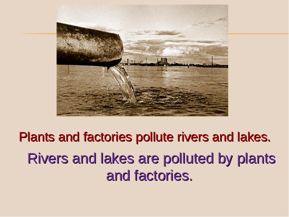 Plants and factories pollute rivers and lakes. Rivers and lakes are polluted...