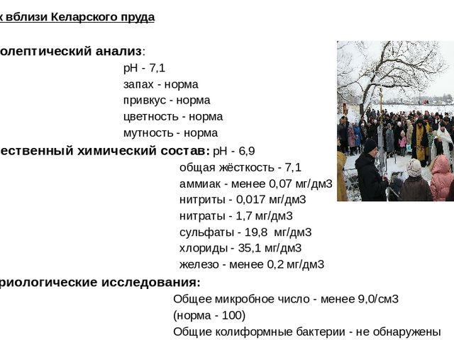 Родник вблизи Келарского пруда Органолептический анализ: рН - 7,1 запах - нор...