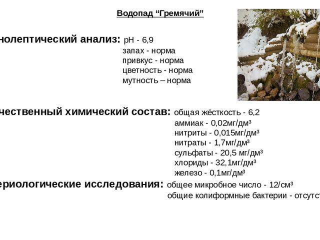 "Водопад ""Гремячий"" Органолептический анализ: pH - 6,9 запах - норма привкус -..."