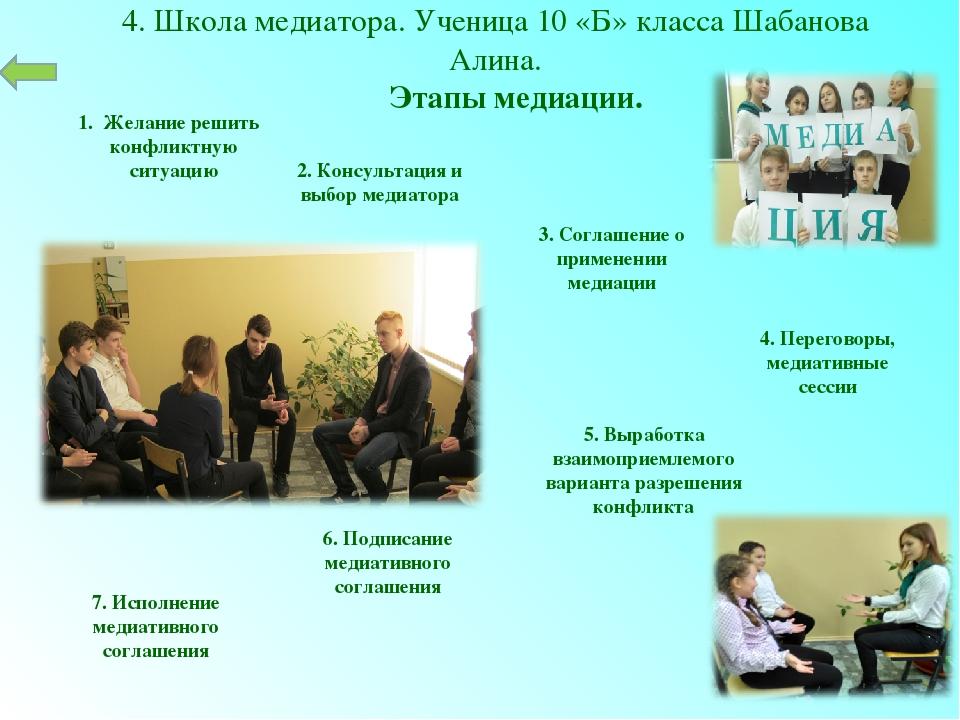 1. Желание решить конфликтную ситуацию 4. Школа медиатора. Ученица 10 «Б» кл...
