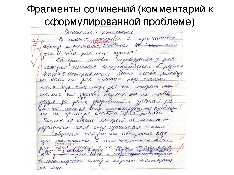 Фрагменты сочинений (комментарий к сформулированной проблеме)