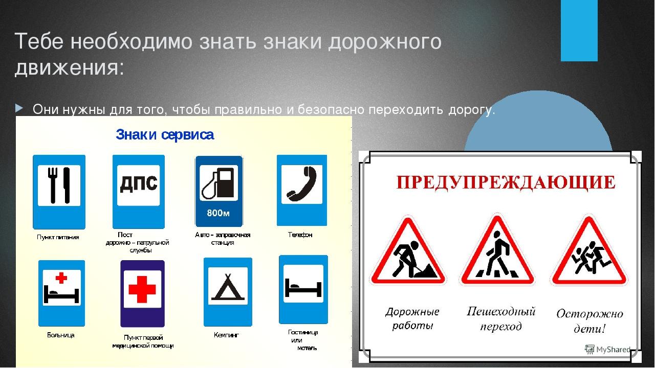 картинки дорожные знаки по пдд для начальной школы названии