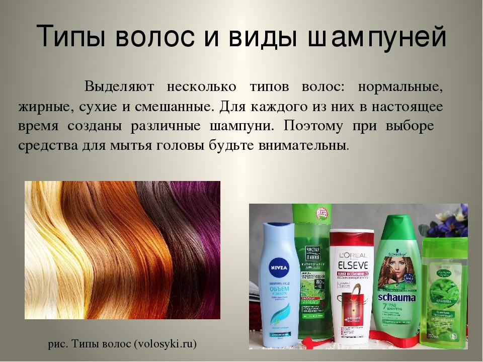 Типы волос и виды шампуней Выделяют несколько типов волос: нормальные, жирн...