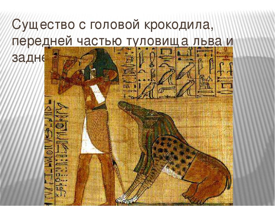 Существо с головой крокодила, передней частью туловища льва и задней - гиппоп...