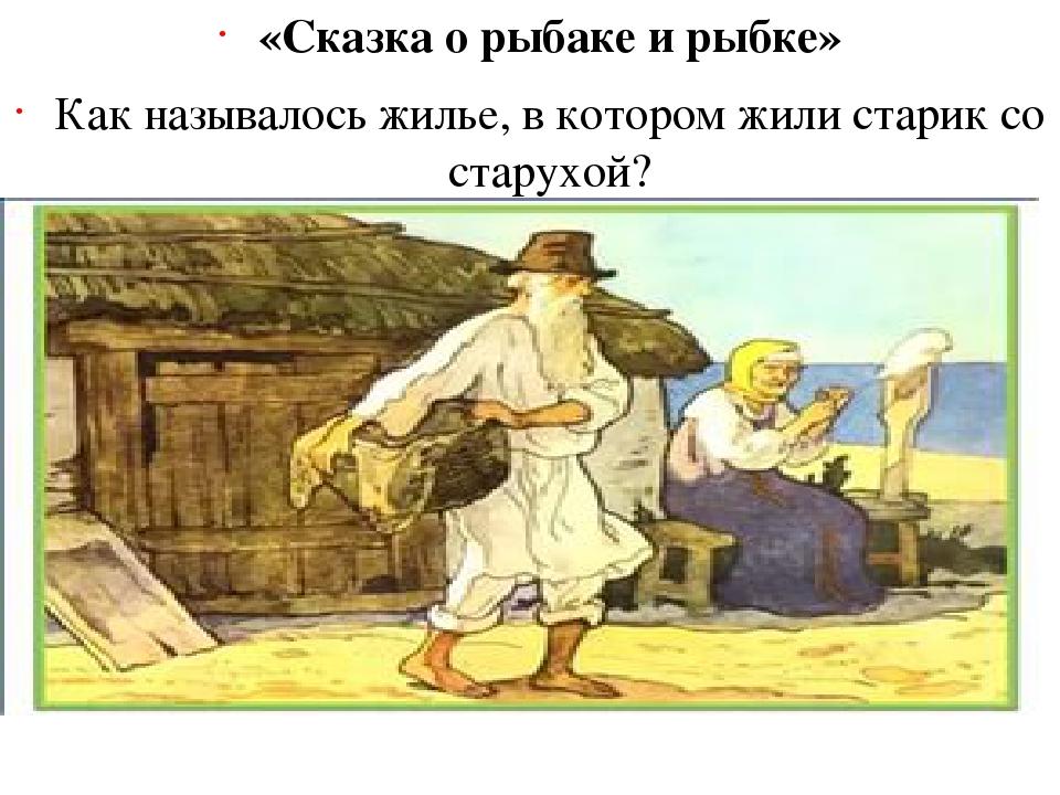 «Сказка о рыбаке и рыбке» Как называлось жилье, в котором жили старик со стар...