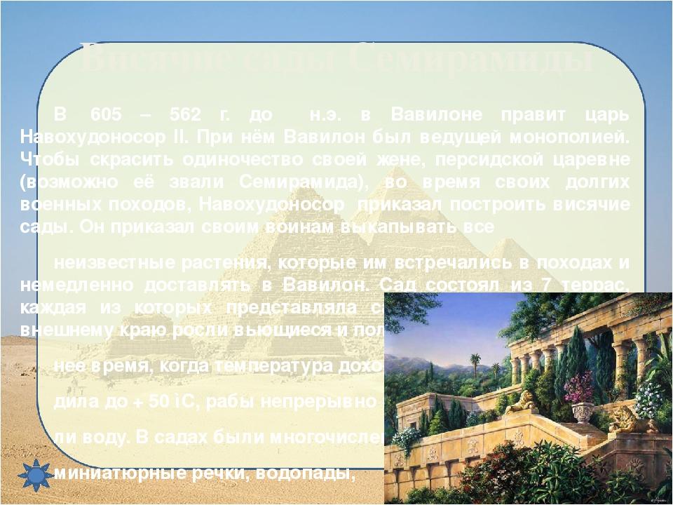 Висячие сады Семирамиды В 605 – 562 г. до н.э. в Вавилоне правит царь Навох...