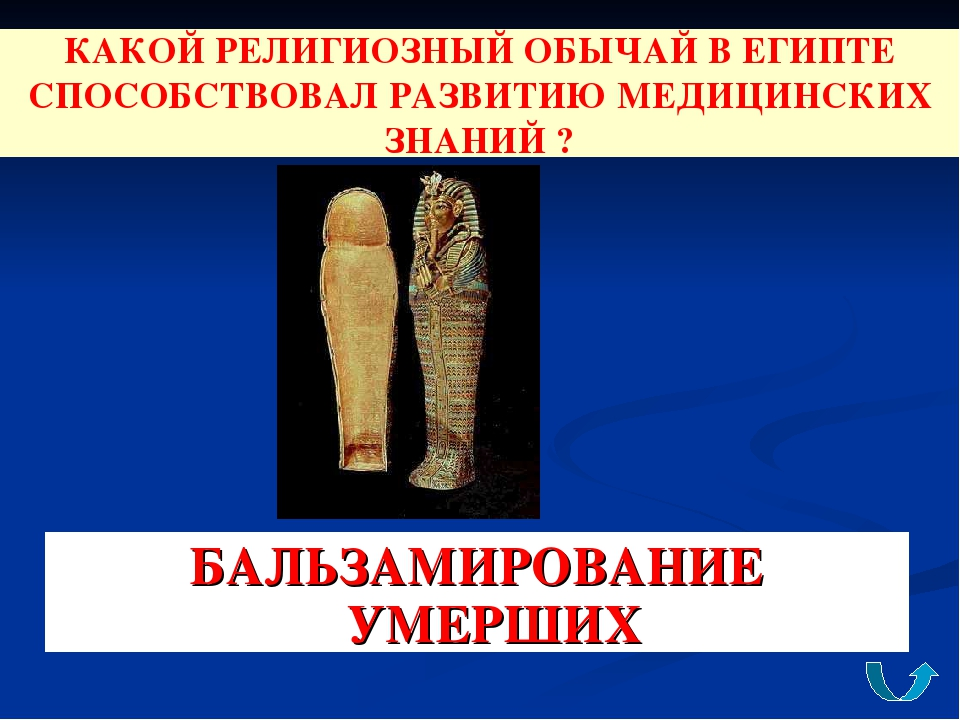 КАКОЙ РЕЛИГИОЗНЫЙ ОБЫЧАЙ В ЕГИПТЕ СПОСОБСТВОВАЛ РАЗВИТИЮ МЕДИЦИНСКИХ ЗНАНИЙ ?...