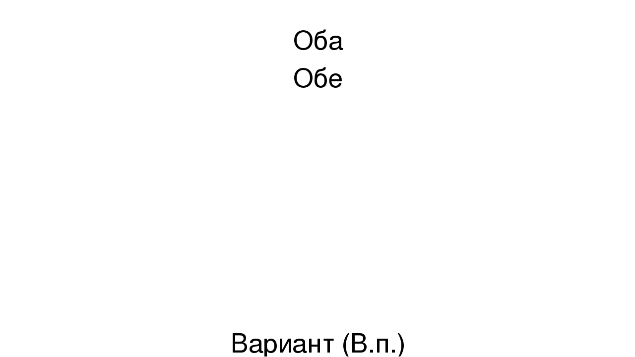Презентация по русскому языку на тему Повторение темы Имя  слайда 6 Оба Обе Вариант В п Рука Р п
