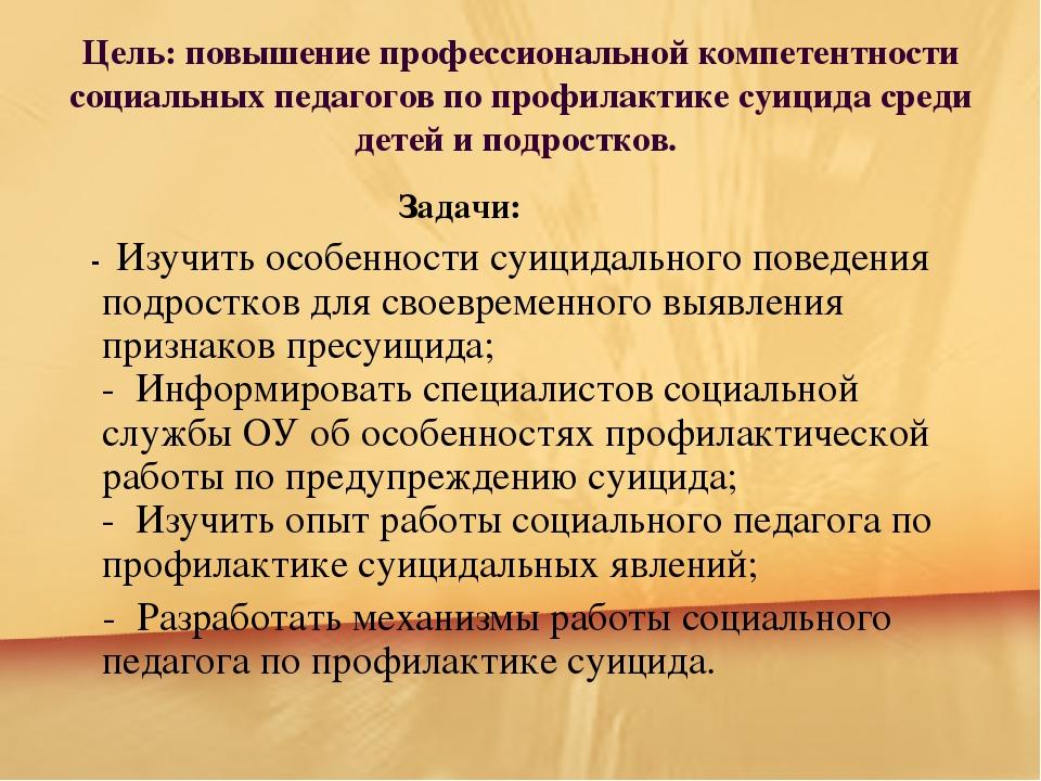 Цель: повышение профессиональной компетентности социальных педагогов по проф...