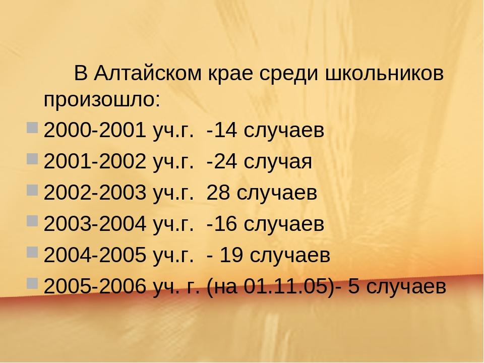 В Алтайском крае среди школьников произошло: 2000-2001 уч.г. -14 случаев 20...