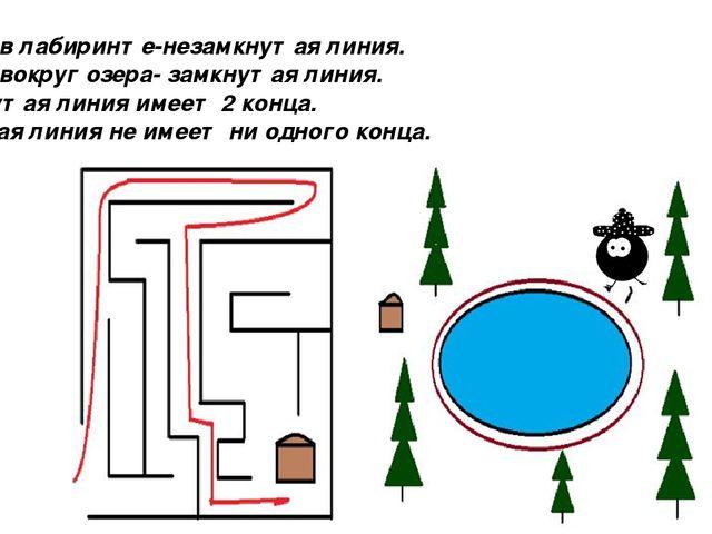 Вывод: Дорожка в лабиринте-незамкнутая линия. Дорожка вокруг озера- замкнутая...