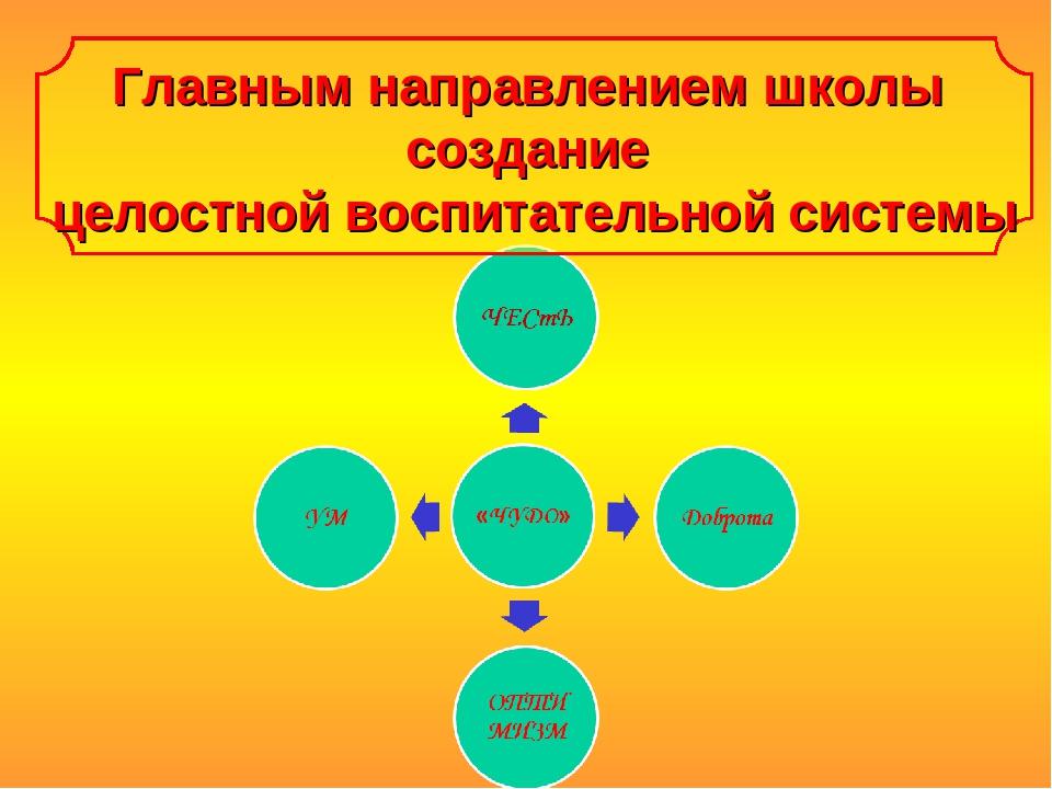 Главным направлением школы создание целостной воспитательной системы