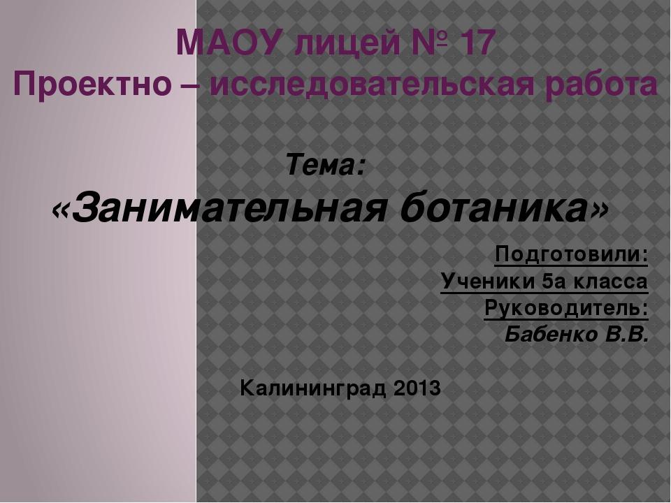 МАОУ лицей № 17 Проектно – исследовательская работа Тема: «Занимательная бота...