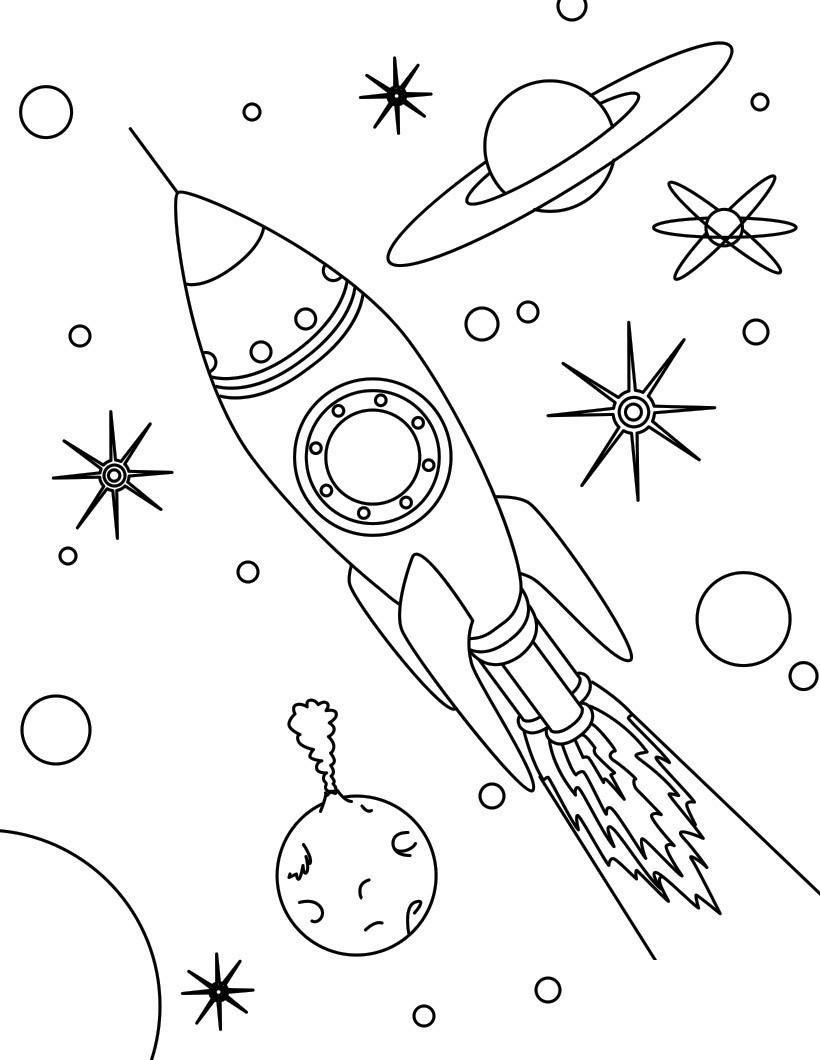 space rocket coloring pages - 774×1000