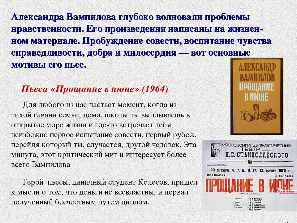 Александра Вампилова глубоко волновали проблемы нравственности. Его произведе...