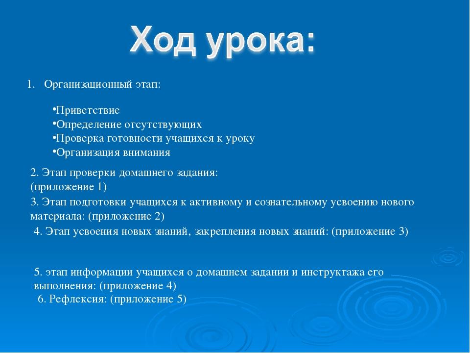 Организационный этап: Приветствие Определение отсутствующих Проверка готовнос...