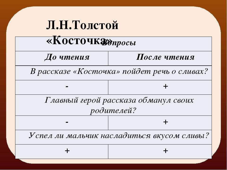 Л.Н.Толстой «Косточка» Вопросы До чтения После чтения В рассказе «Косточка» п...