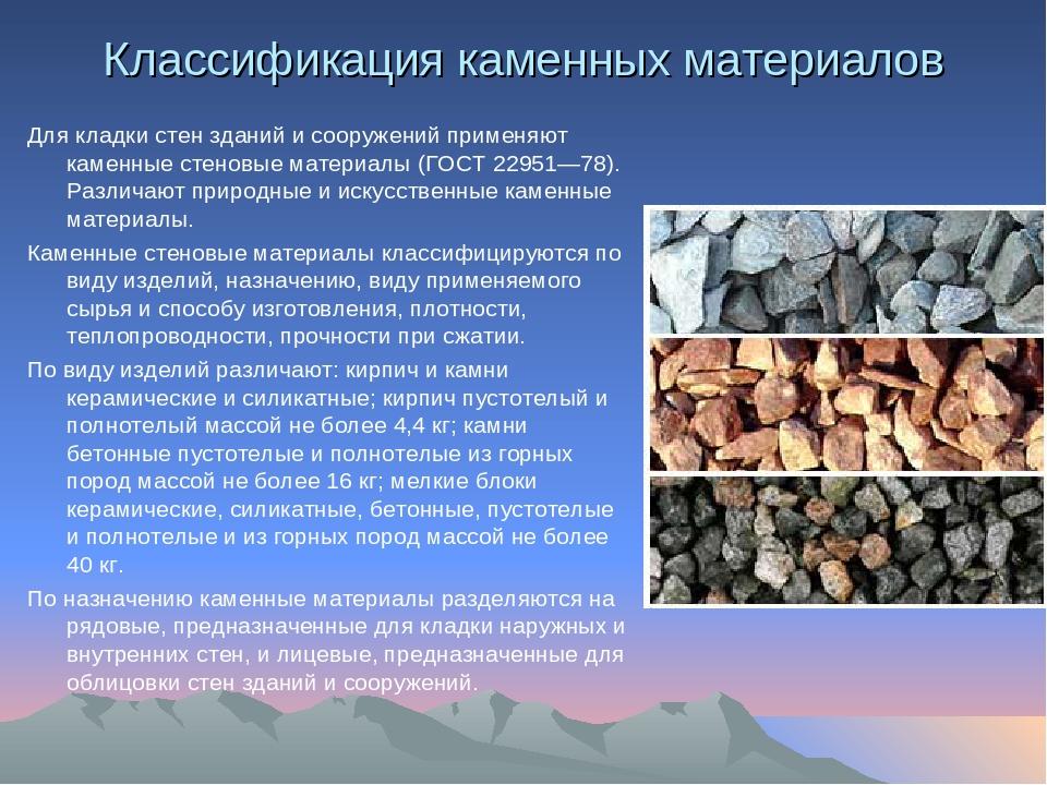 Требования природных каменных материалов