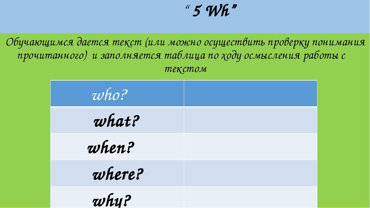""""""" 5 Wh"""" Обучающимся дается текст (или можно осуществить проверку понимания п..."""